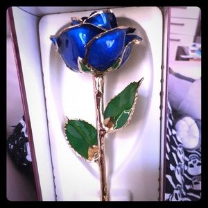 Dark Blue Gold Dipped Rose